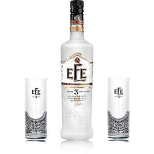 Efe triple Raki mit 2 Efe triple Gläsern